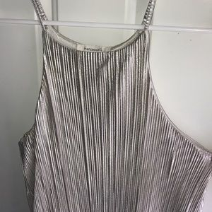 Francesca's Silver Pleated Dress